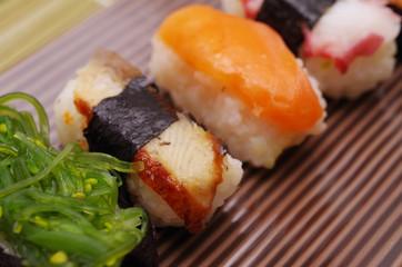 Sushi nigiri in dish