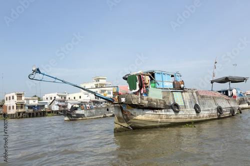 canvas print picture Händlerboote im Mekong Fluß bei Cai B, Vietnam