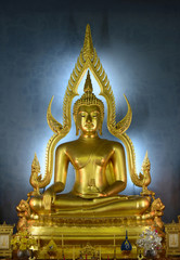 "The ancient Buddha in famous temple ""Wat Benjamaborphit temple """