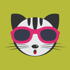 Vector image of a cat wearing glasses.