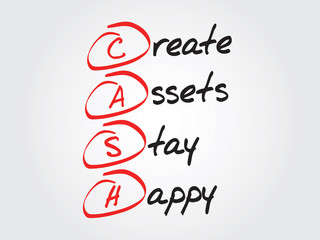 Create Assets Stay Happy (CASH), vector concept acronym
