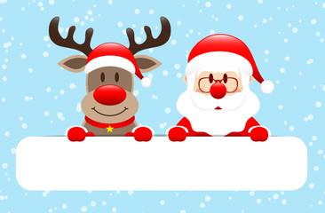 Giftcard Rudolph & Santa Banner Snow Blue