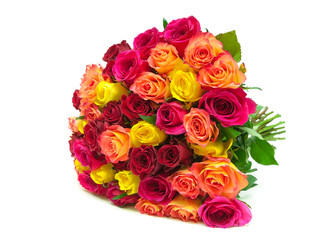 beautiful bouquet of fresh roses closeup isolated on a white bac