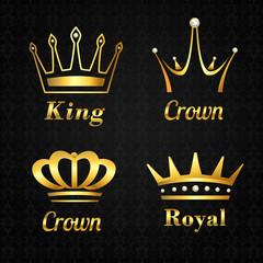 Golden crown labels set