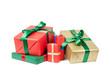 Leinwanddruck Bild - stapel weihnachtsgeschenke