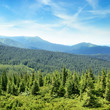 mountains covered trees and blue sky