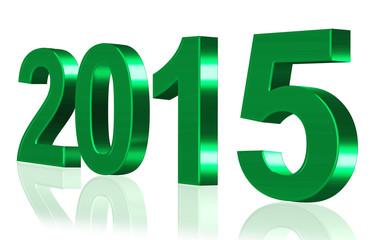 Jahreszahl 2015 grün, freigestellt