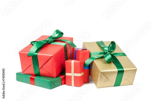 Leinwanddruck Bild stapel weihnachtsgeschenke