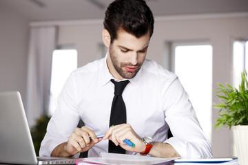 Executive businessman with laptop