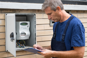 Electrician Taking Meter Readings