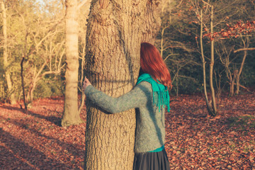 Woman hugging tree at sunset