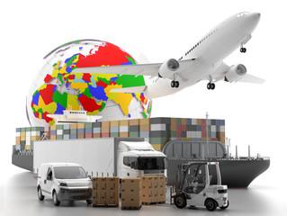 International goods transport with globe on background