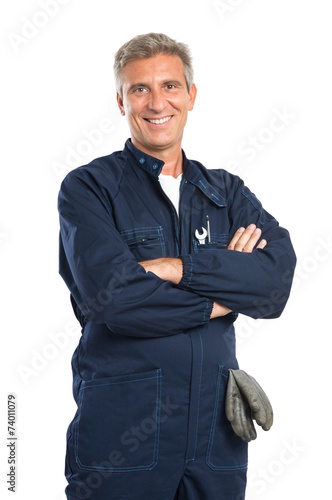 Happy Mature Mechanic - 74011079