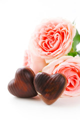 chocolate candy  hearts roses for Valentine's day holiday