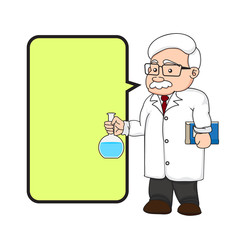 illustration of a chemistry or scientist with text box.