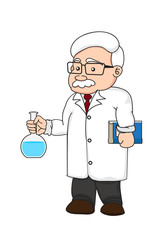 illustration of a chemistry or scientist on white background