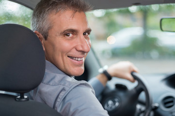 Happy Man Driving Car