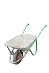 isolated old dirty wheelbarrow