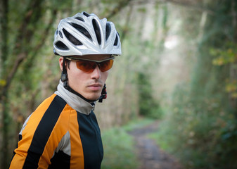 Cyclist portrait in the forest
