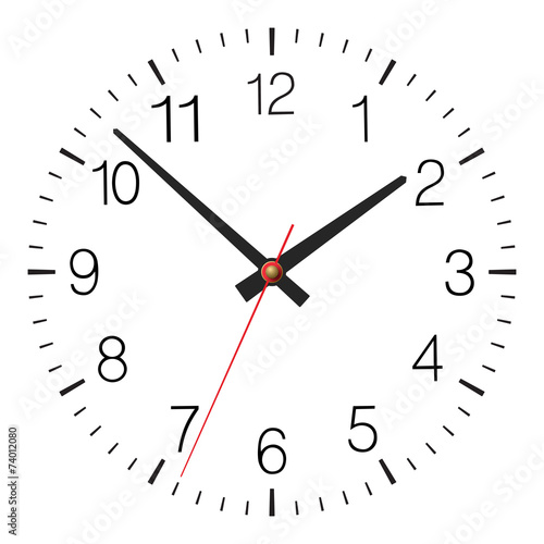 Simple classic vector clock placed on white