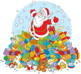 Santa Claus on a big pile of Christmas gifts