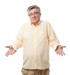 senior cool man confused pose