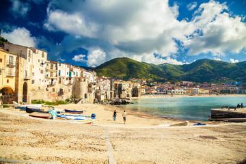 empty old beach of Cefalu, Sicily