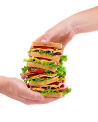 Delicious Sandwich in hands