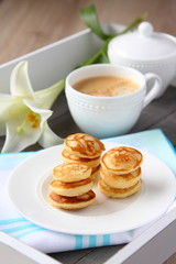 Freshly baked poffertjes - traditional Dutch little pancakes