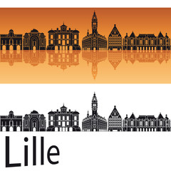 Lille skyline in orange background