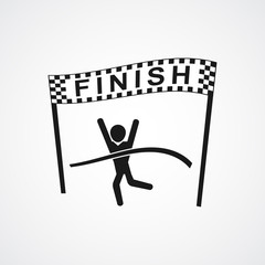 Winning Athlete crosses the finish line