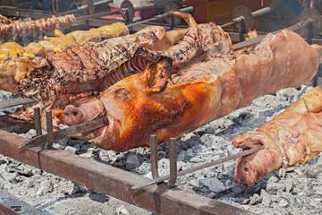 whole pigs roast