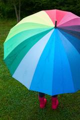 Child with umbrella outdoors
