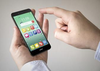 touchscreen green smartphone