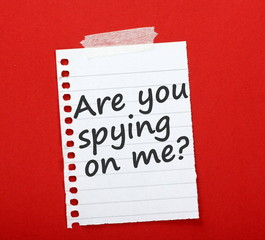 Are you spying on me? note taped to a red notice board