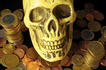 Death and Money Concept Skull and Currency