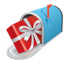 Beautiful blue metal mailbox with a gift. Vector icon.