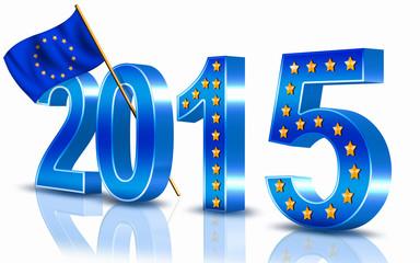 Jahreszahl 2015 Flagge Europäische Union - EU, freigestellt