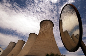 chimneys of a geothermal power plant