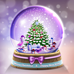 Snow glass ball with christmas tree in vector