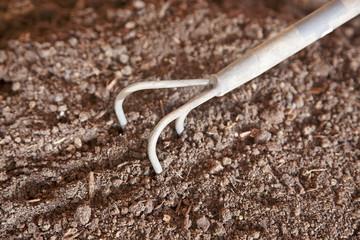Rake on humus soil