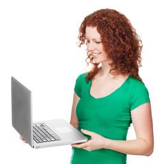 Young beautiful woman using a laptop