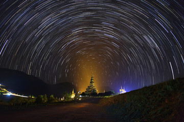 The Stars night of startails over Phasornkaew Temple ,That place