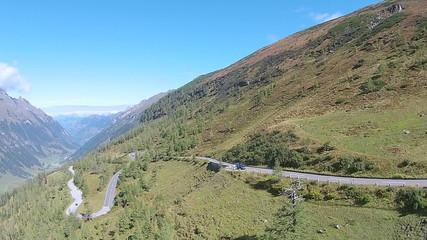 aerial view of road between mountains. Grossglockner High Alpine