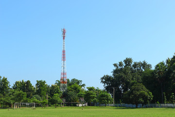 telephone tower in the park and play ground
