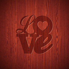 Valentines Day illustration with engraved Love typography design
