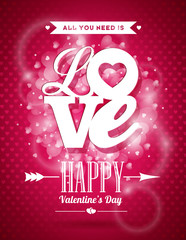 Valentines Day illustration with Love typography design