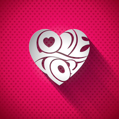 Valentines Day illustration with 3d Love You typography design
