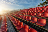 Empty plastic chairs at temporary grandstand stadium in Phuket, poster