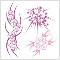 Flower design for tattoo. Vector illustration.
